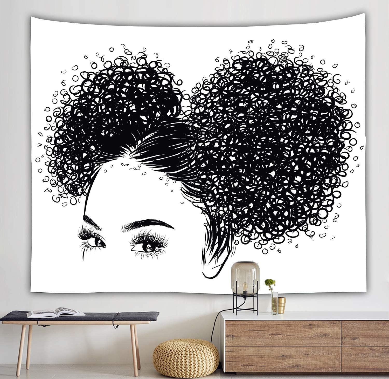 Black and White Tapestry Gift For Women Black Girl Afro Girl African American Women Girl Wall Hanging Tapestry for Living Room Bedroom Dorm Decor (51