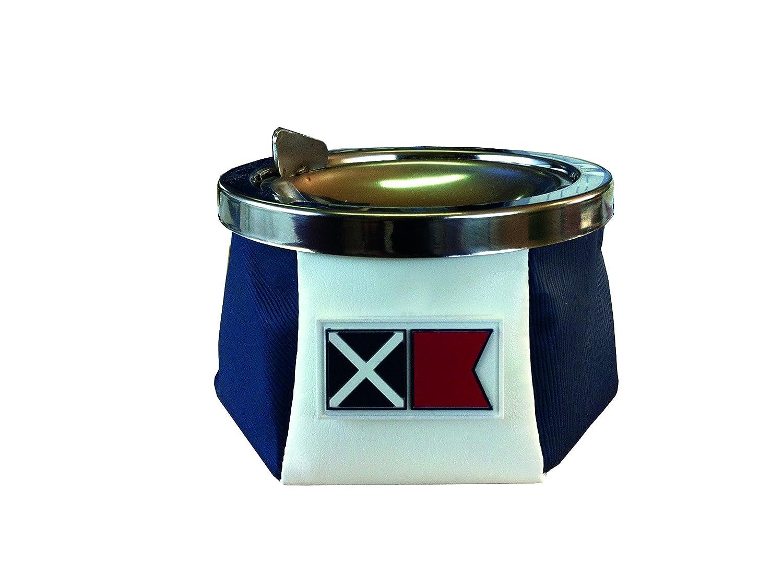 marine business Cendrier inox et cuir blanc/bleu 30106