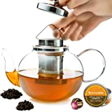 Glass Teapot with Infuser - Stovetop Teapot with Removable Stainless Steel Strainer, Microwave & Dishwasher Safe, Tea…