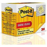 Bloco de Notas Adesivas, Post-it, 76x102mm, 6 Blocos de 100 Folhas, Amarelo