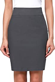 Kate Kasin Women's Knee Length Pencil Skirts Slim Fit Business Skirt