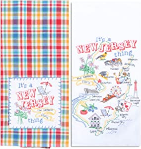 Kay Dee Designs New Jersey Map Home State & Souvenir Embroidered Dish Towels, Bundle Set of 2 State of New Jersey Kitchen Towels