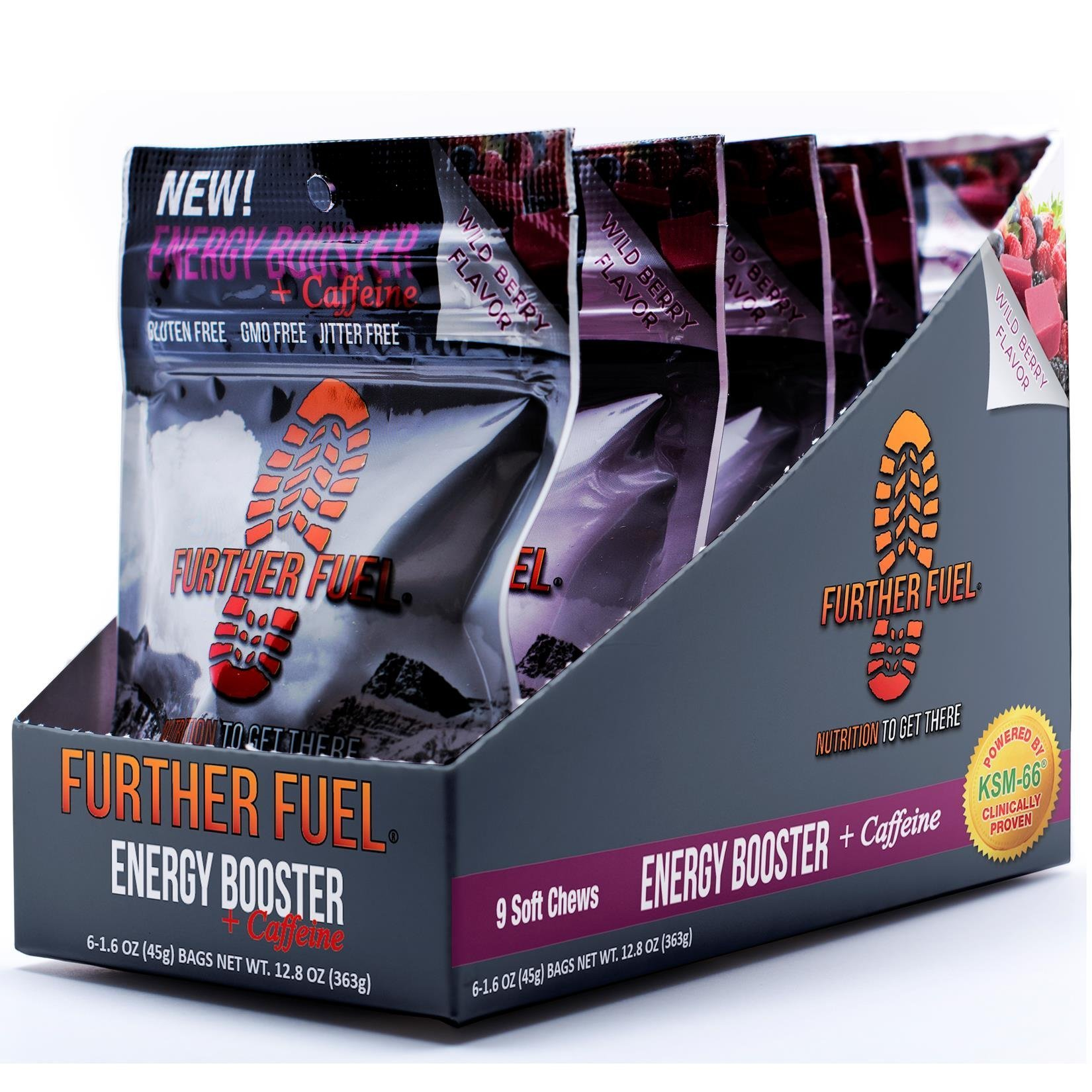 FURTHER FUEL - Energy Booster + Caffeine Soft Chews (6-pack) powered by KSM-66 Ashwagandha, B12, L-Tyrosine and natural caffeine- no jitters, no crash, low sugar