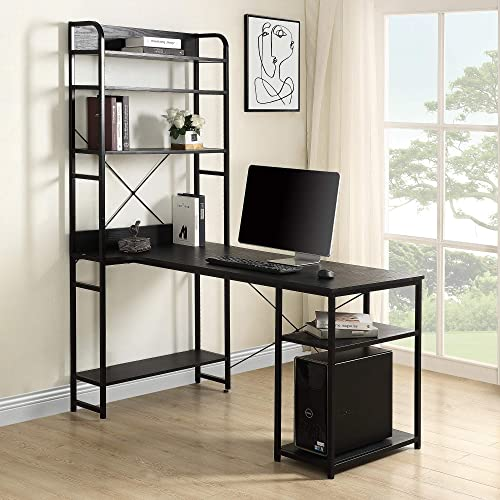 Modern Luxe L Shaped Computer Bookshelf Corner 2 PC Table Set Home Office Desk
