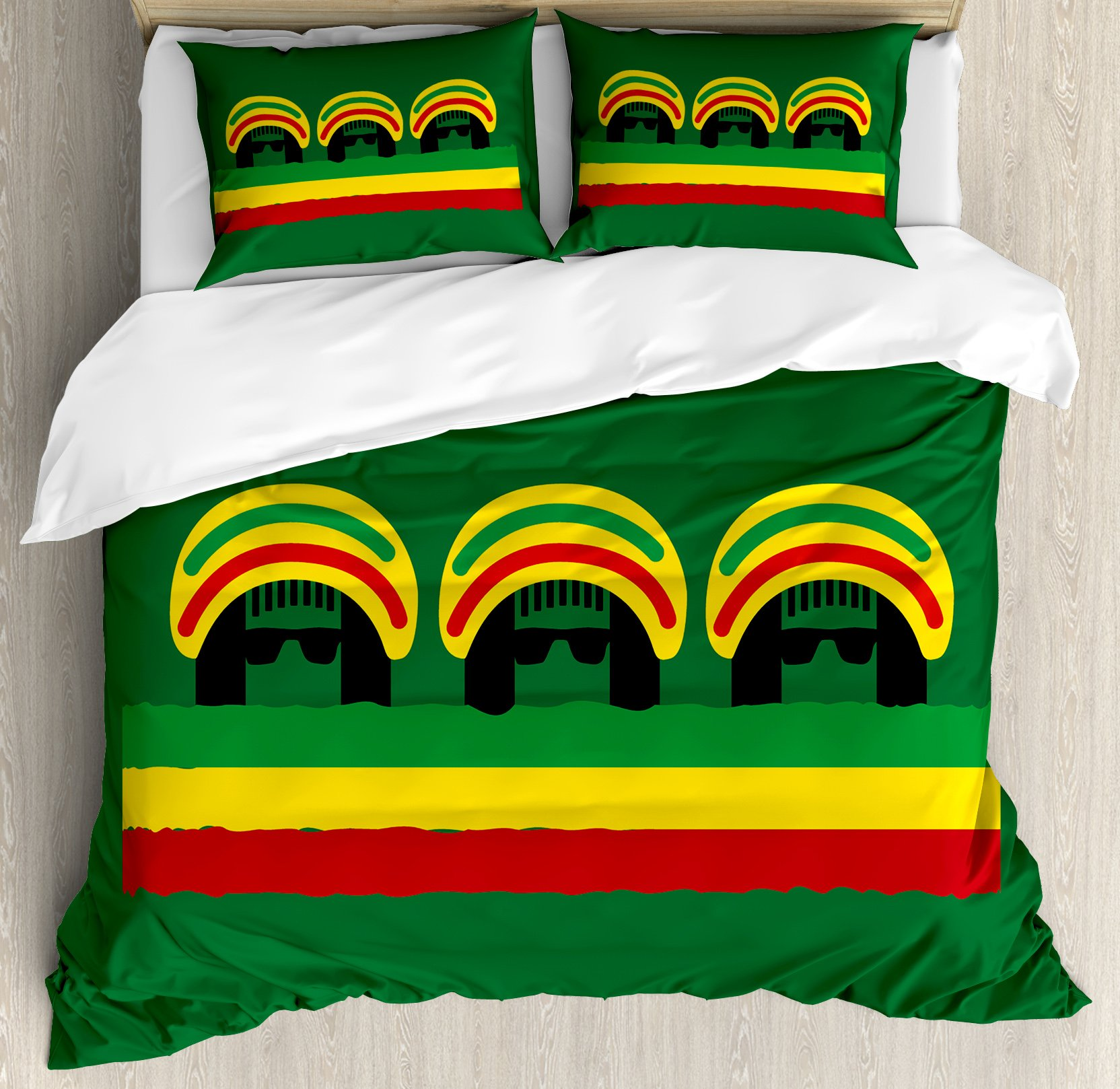 Jamaican Duvet Cover Set Queen Size by Ambesonne, Jamaican Reggae Culture Inspired Minimal Head Shapes with Hats Country Flag, Decorative 3 Piece Bedding Set with 2 Pillow Shams, Green Multicolor