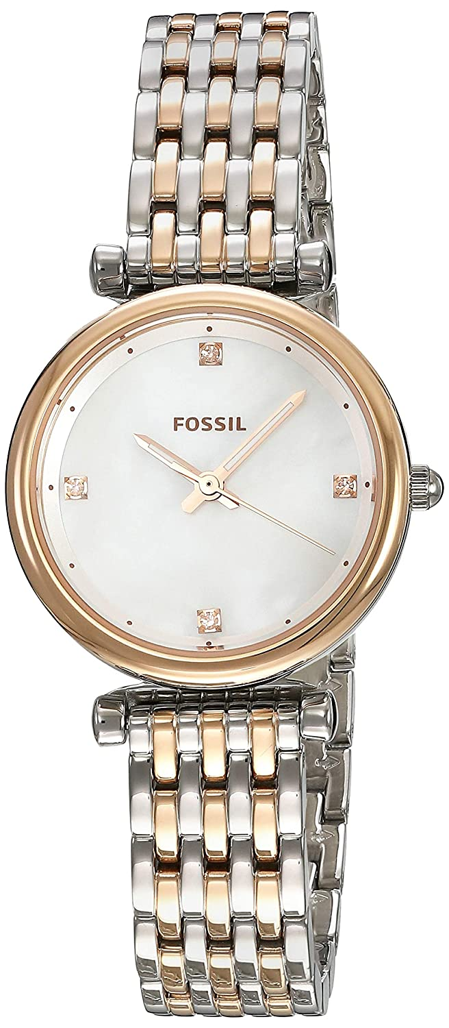 Amazon.com: Fossil Womens Carlie Stainless Steel Quartz Watch with Strap, Two Tone, 12 (Model: ES4431: Watches