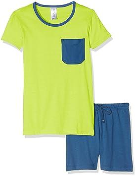 Envie Pijama de niño Fluo con Pantalones Cortos, Lima gallega/Azul Marino, 104