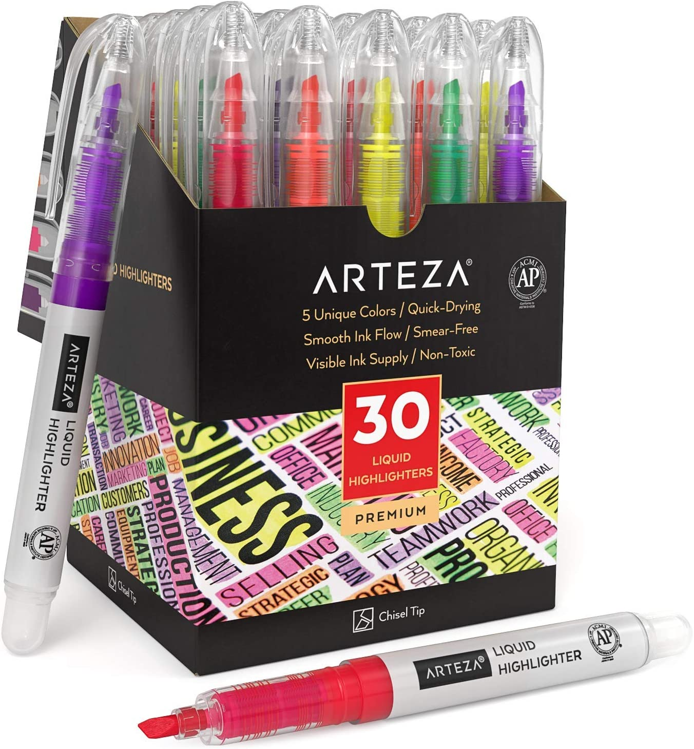 Arteza Liquid Highlighter Pens, Set of 30, Narrow Chisel Tip, Bulk Pack of Highlighters in 5 Assorted Colors, Use in Bullet Journal, Notes, or Books