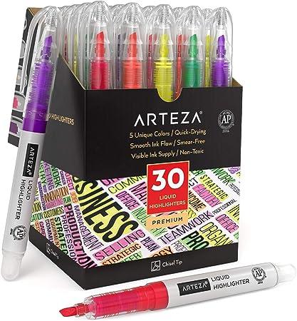 Arteza Marcadores fluorescentes de colores surtidos, juego de 30 subrayadores, 5 tonos, punta cincel, pack de resaltadores con forma de boli para subrayar en agendas, listas de tareas, notas o libros: Amazon.es: