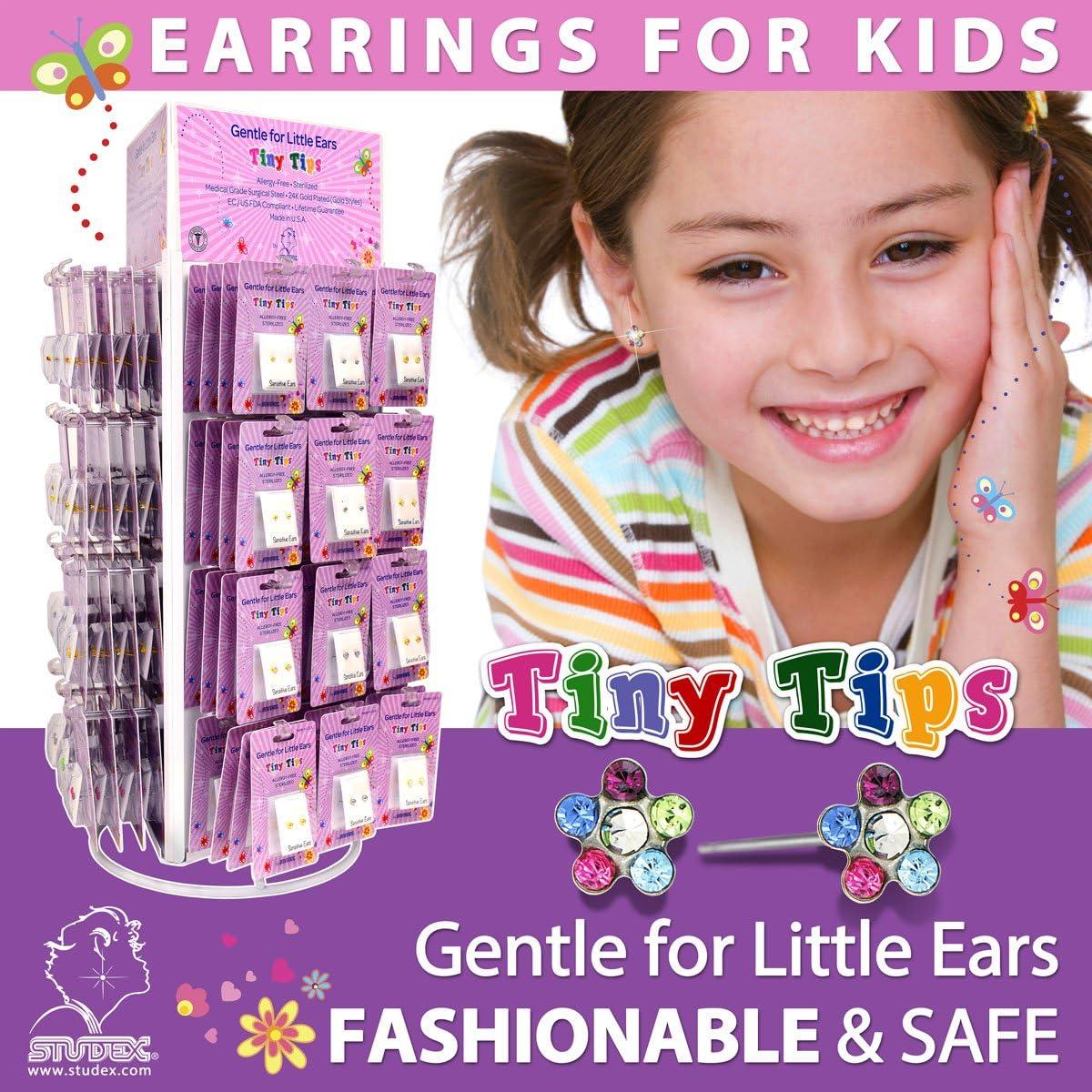 Studex Tiny Tips Rainbow Crystal 5mm Daisy en acier inoxydable boucles doreilles hypoallerg/éniques pour enfants