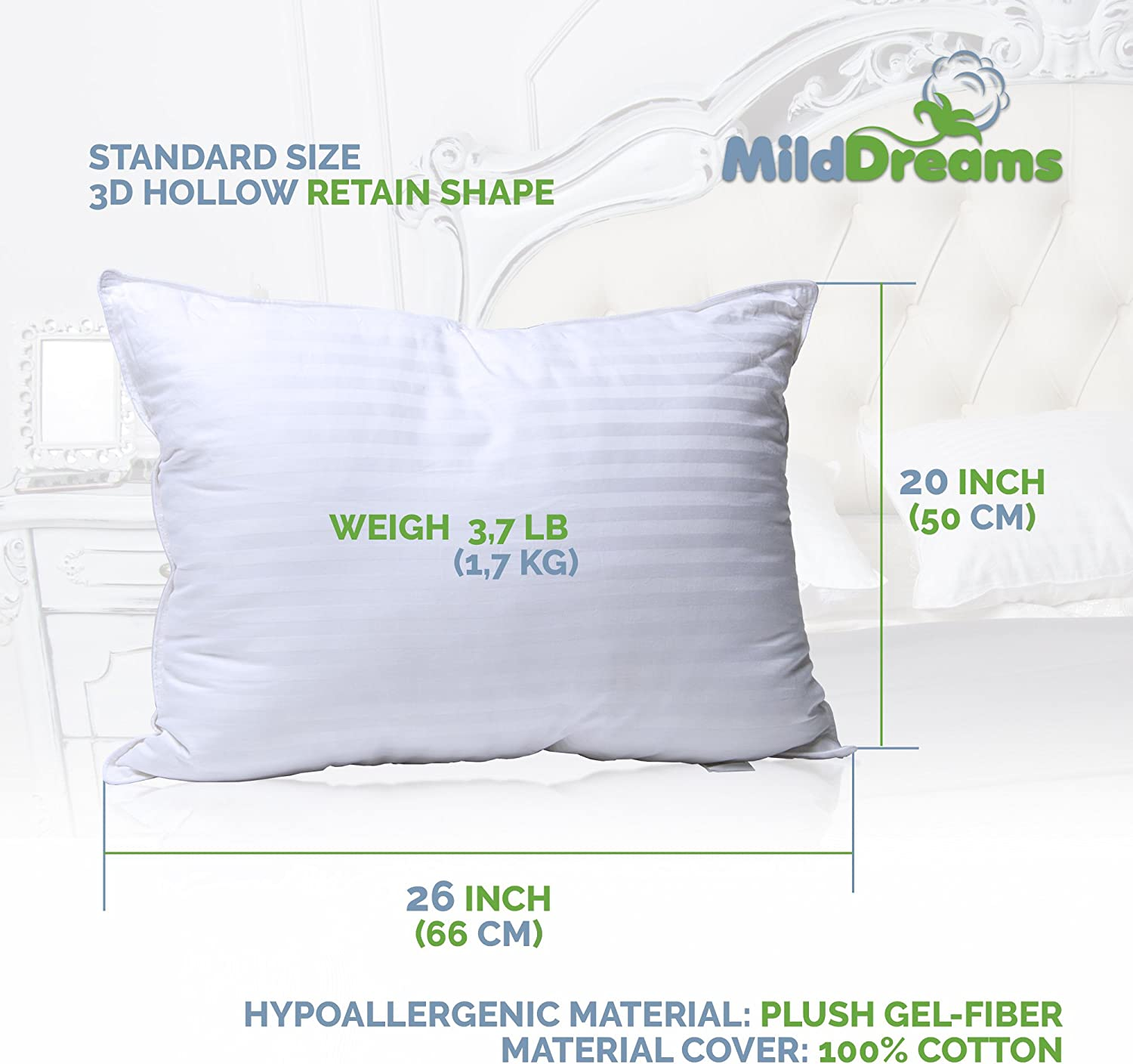 Amazon.com: Pillows for Sleeping 2 Pack Standard Size 20x26 inch