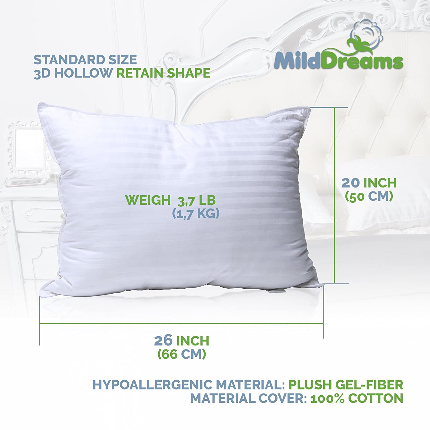 Set of 2 Bed Pillow Soft Hypoallergenic Material Best Hotel Pillow