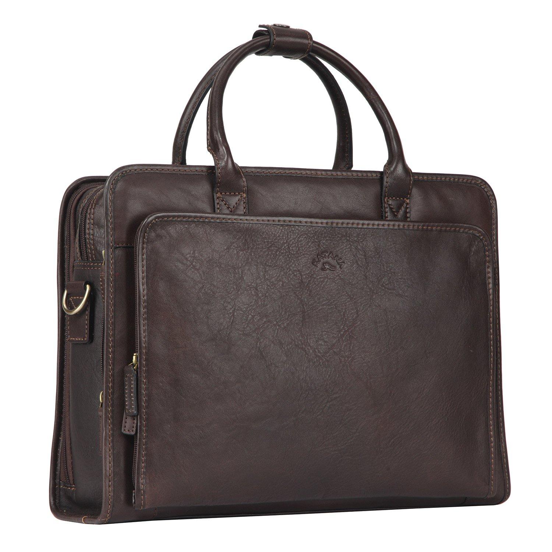 Banuce Aktentasche Herren Businesstasche Italinisches Leder Rindleder Laptoptasche 14 Aktenkoffer Umhängetasche RTOFYBM088-DBN