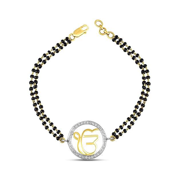 Ghanasingh Be True 18KT Yellow Gold, Diamond and Pearl Bracelet for Women Bangles   Bracelets