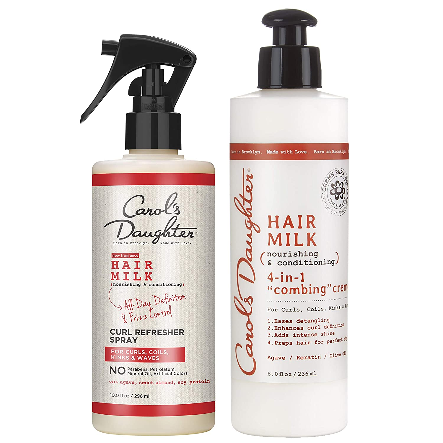 Curly Hair Products Gift Set by Carol's Daughter, Hair Milk Refresher Spray and 4 in 1 Combing Crème Hair Detangler, For Curls, Coils, Kinks, and Waves, with Agave Nectar : Beauty