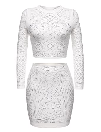Beyove Women Sequin Crop Top and Midi Skirt Set Bodycon Bandage Dress Plus  Size(White XXL)
