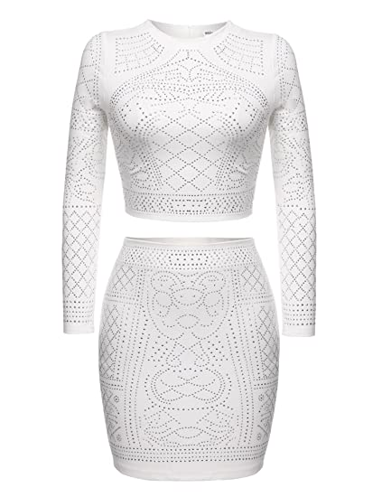 602b58f990 ELESOL Womens 2 Pieces Bodycon Studded Outfit Crop Top Short Skirt Set  (White S)
