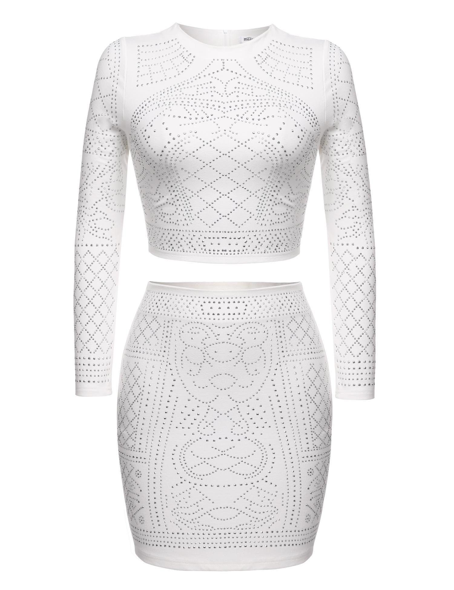 ELESOL Womens Studded Outfit Two Pieces Bodycon Crop Top and Mini Skirt Set(White XL)
