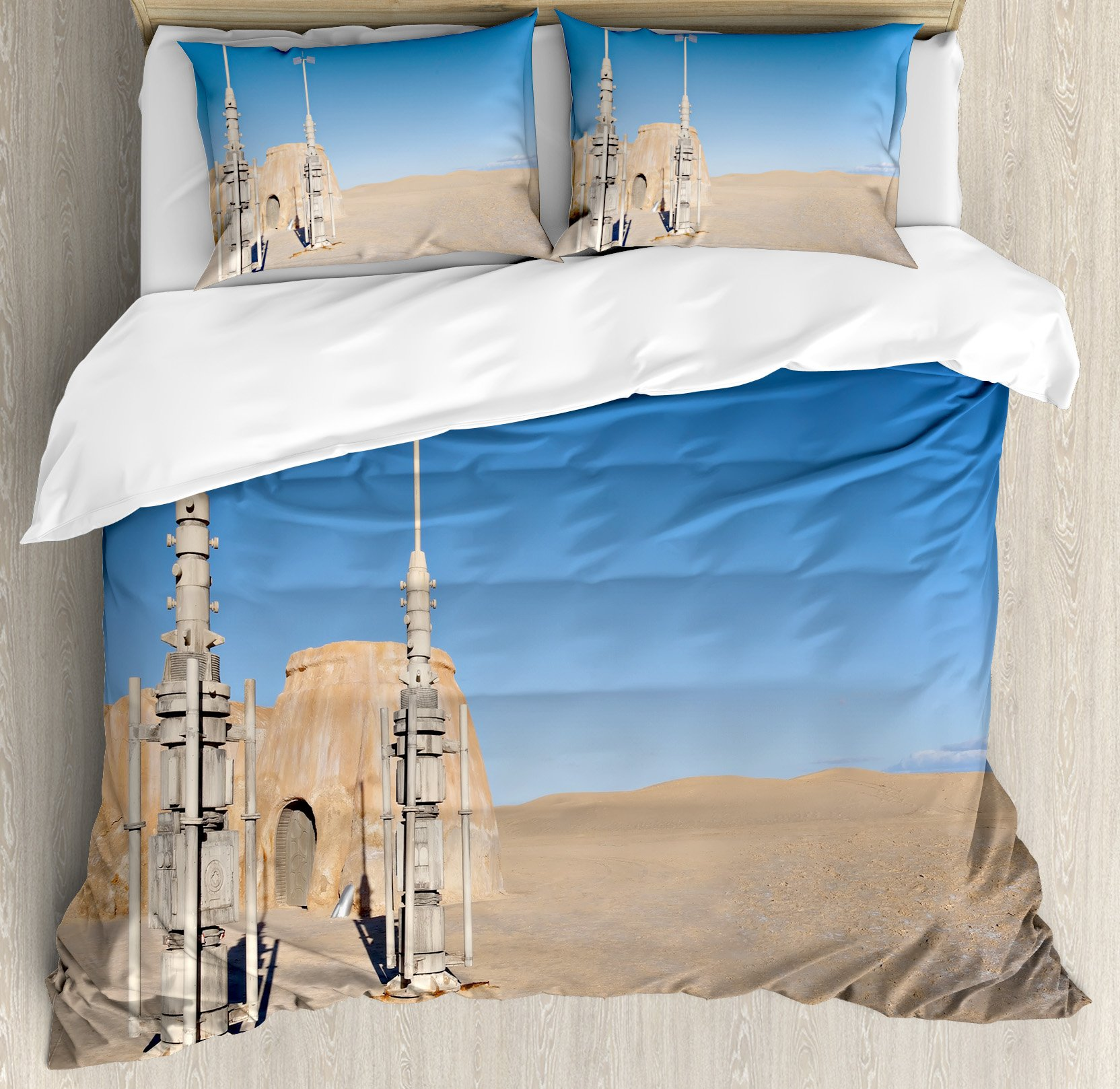 Galaxy Duvet Cover Set by Ambesonne, Illustration of Town of Famous Movie Set on the Planet Fantasy Space Wars Theme, 3 Piece Bedding Set with Pillow Shams, Queen / Full, Brown Blue