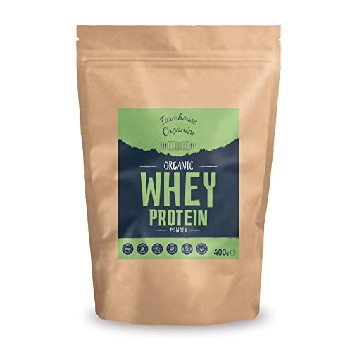 Farmhouse Organics - Organic Whey Protein Powder: 80% Protein Concentrate, Grass Fed, Gluten Free, Soy Free, Additive Free, Hormone Free, Nut Free, GMO Free, Vegetarian, Unflavoured, 400g