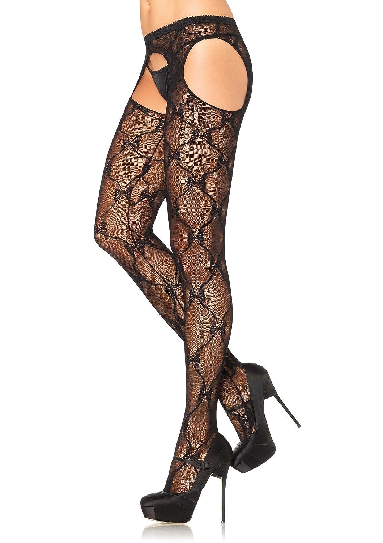 Leg Avenue Women's Lace Suspender Hose Black One Size 190722001 1907-OneSizeFitsMost