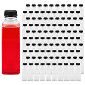 Takeout Depot - 16 oz Plastic Bottles with Caps (100 Pack) - Perfect for Your Water, Juice or Smoothie - 16oz Clear PET Plastic Containers with Lids - Small Disposable Liquids & Juicing Container
