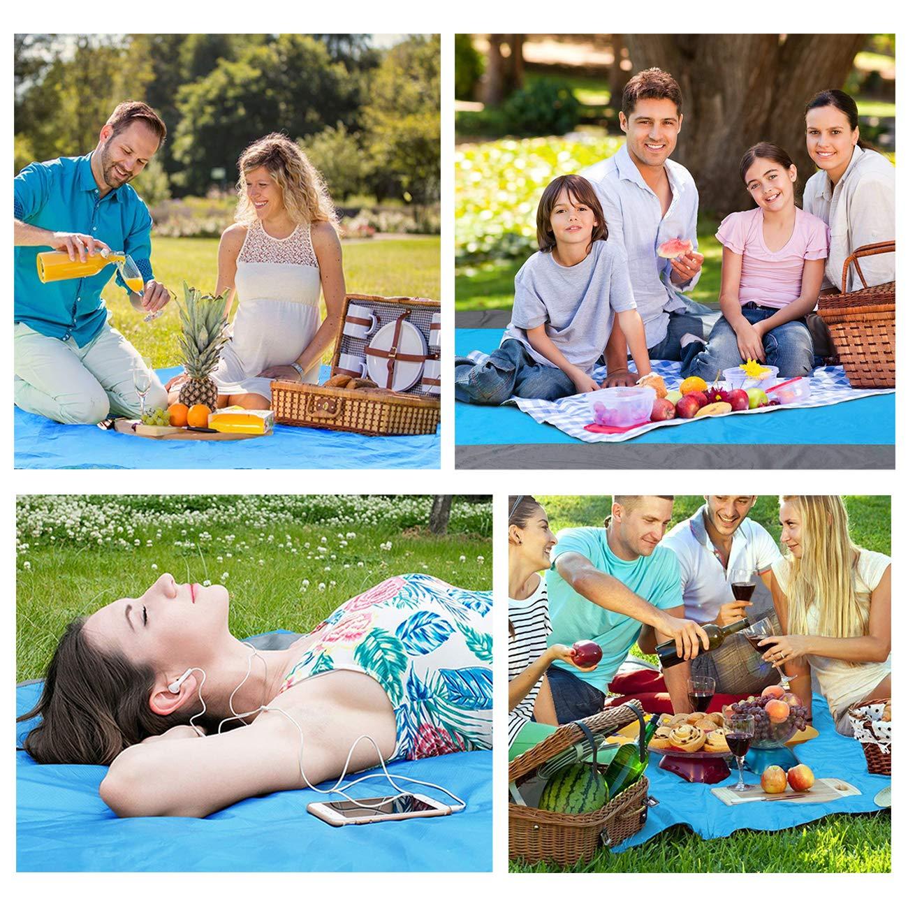 Picknickdecke wasserdichte und sandfreie Outdoor Picknickdecke Stranddecke 200 x 200 cm Schnelles Trocknen Strandmatte f/ür den Strand Camping Piknicke und Wanderungen