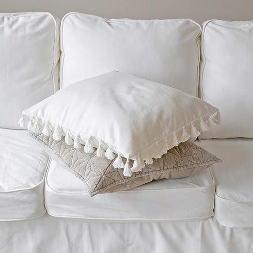 Cojín de algodón blanco pompones Tassel 50 x 50 cm: Amazon ...