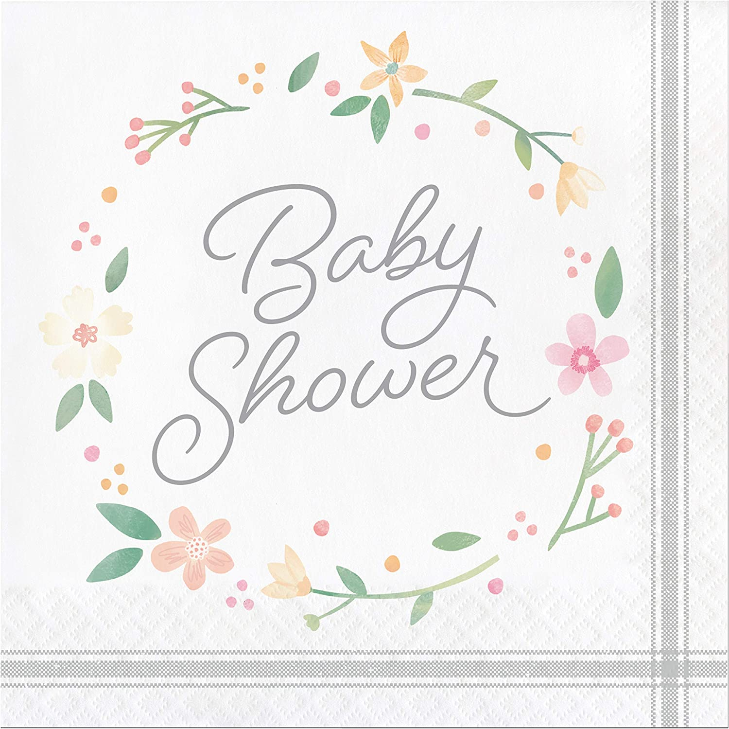 Country Floral Baby Shower Bottle Napkins, 48 ct