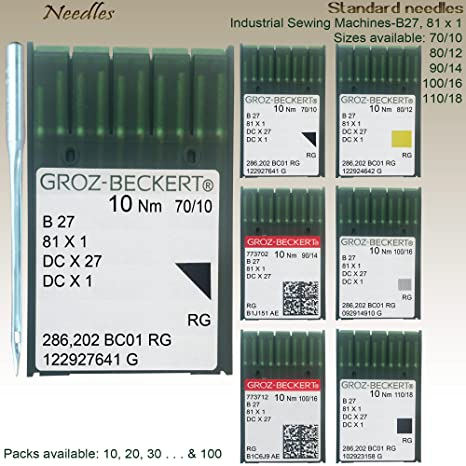 Groz-Beckert Agujas para máquina de coser industrial sobrehiladora B27 81 x 1, todos