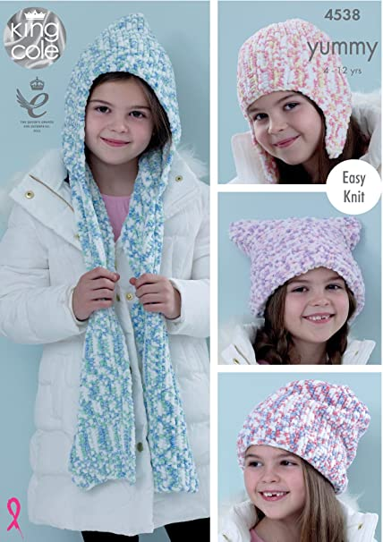 Amazon Com King Cole Girls Knitting Pattern Easy Knit Hats Helmet