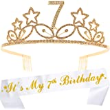 7th Birthday Gifts for Girl, 7th Birthday Tiara and Sash Gold, HAPPY 7th Birthday Party Supplies, It's My 7th Birthday Sash a