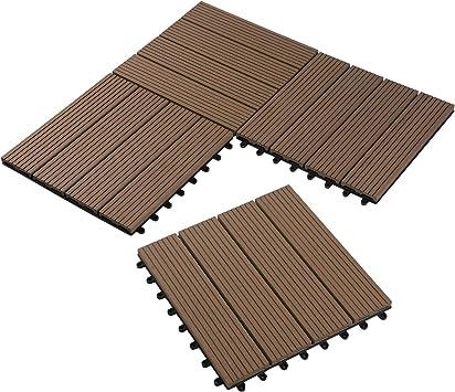 Laneetal Baldosas de Madera 30 x 30 cm Suelo de Exiterior WPC Juego de 11 Suelo Terraza Exterior para Jardín 1m² Suelo Madera Jardin Marrón: Amazon.es: Bricolaje y herramientas