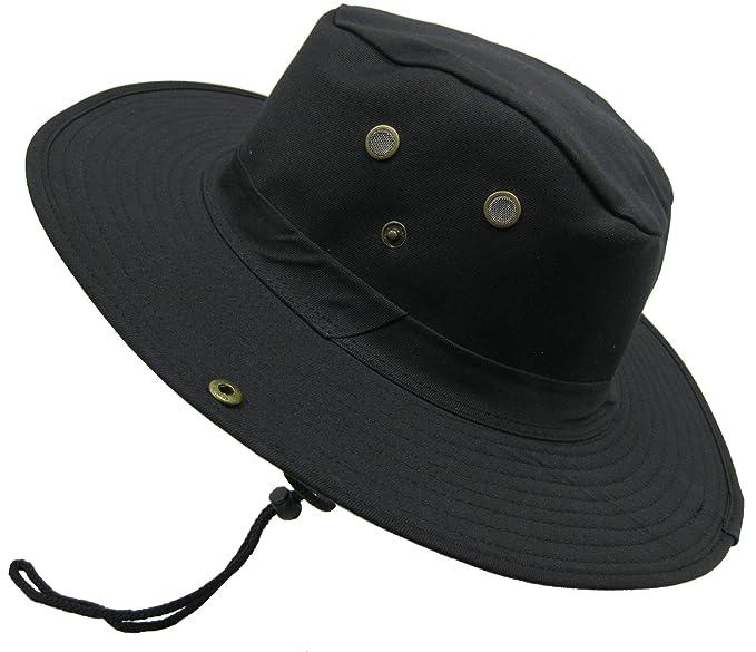 Boonie Bush Outdoor Fishing Hiking Hunting Boating Snap Brim Hat Sun Cap  Bucket (Black b5cbdddbf68