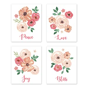 Sweet Jojo Designs Pink, Peach and Green Rose Flower Wall Art Prints Room Decor for Baby, Nursery, and Kids for Watercolor Floral Collection - Set of 4 - Peace Love Joy Bliss