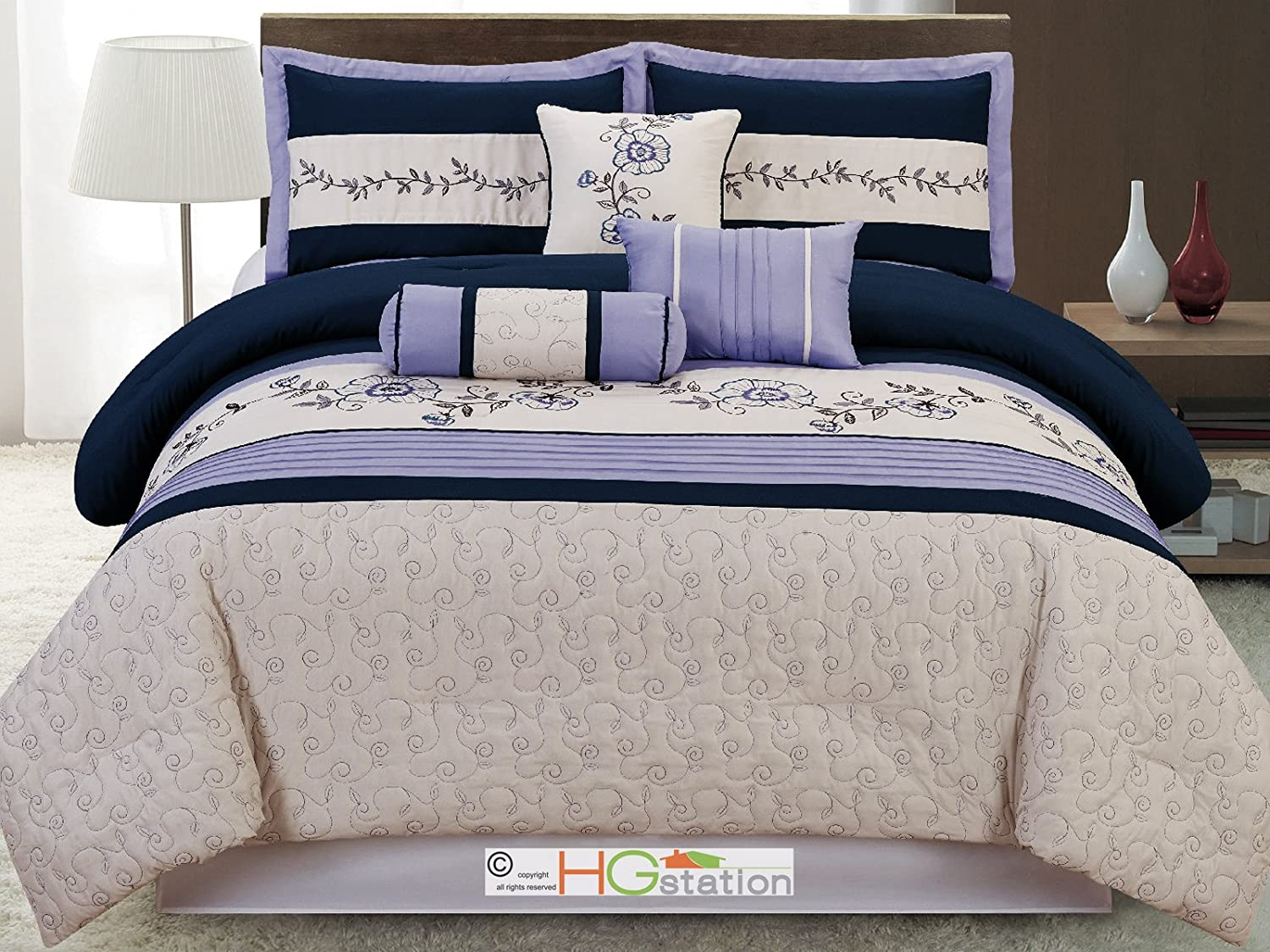 7-Pc Quilted Scroll Embroidery Floral Comforter Set Navy Light Blue Lavender Queen