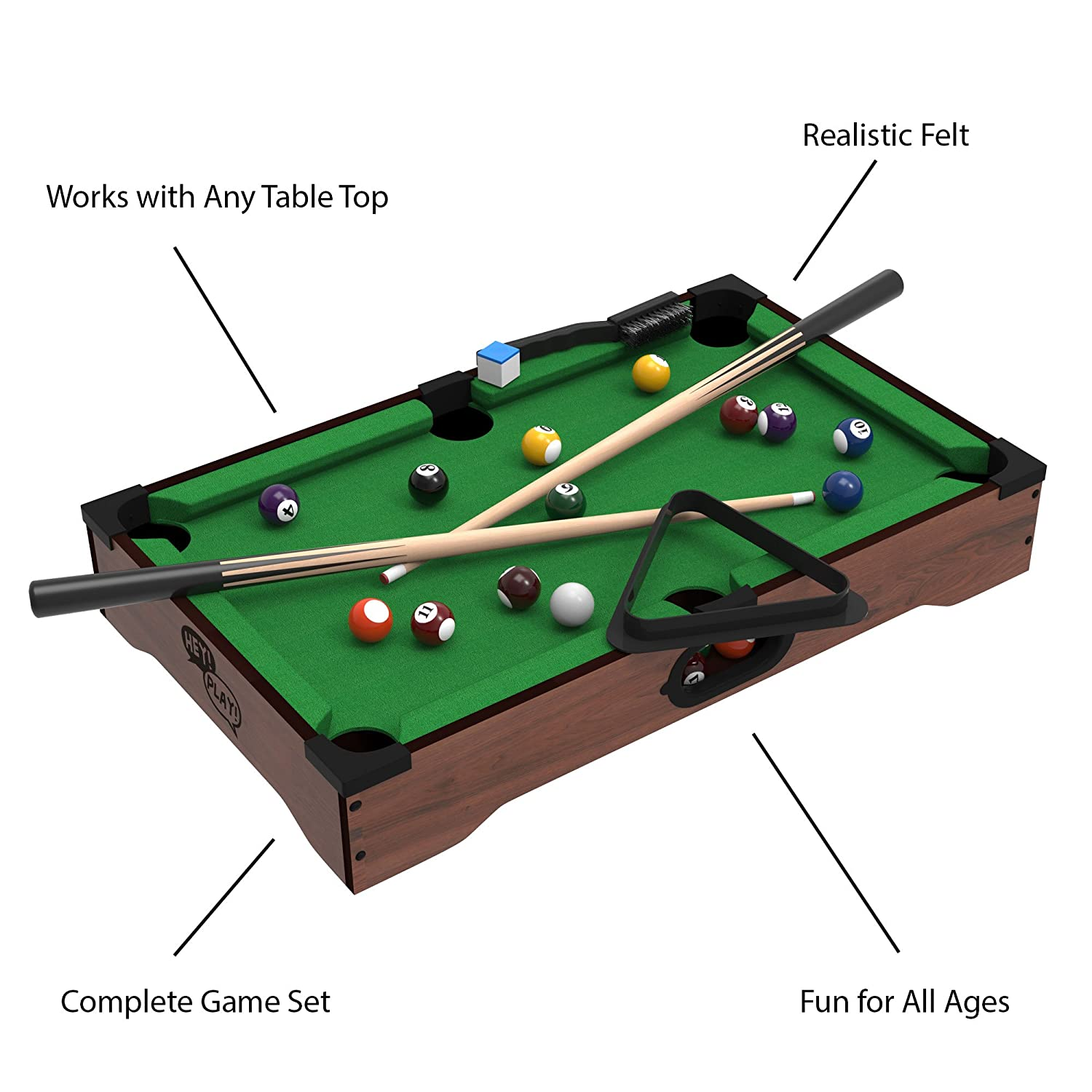 Genial Amazon.com: Trademark Mini Tabletop Pool Set  Billiards Game Includes Game  Balls, Sticks, Chalk, Brush And Triangle Portable And Fun For The Whole  Family By ...