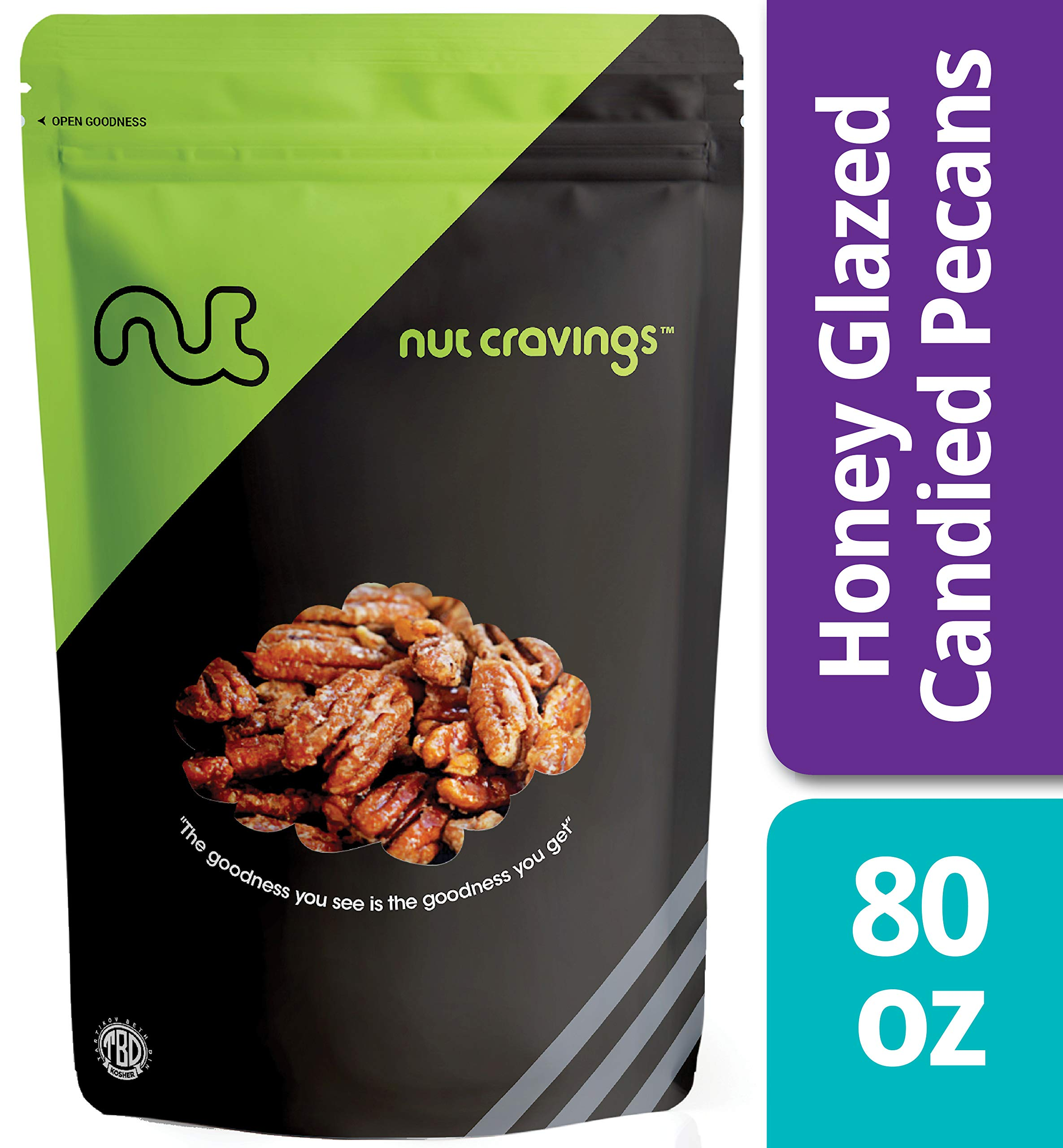 Nut Cravings - Fresh Honey Glazed Candied Pecans (5 Pounds) - In Resealable Bag - 80 Ounce