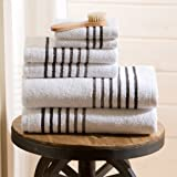 Maggie 6 pc Towel Sets by Caro Home (White/Caviar)