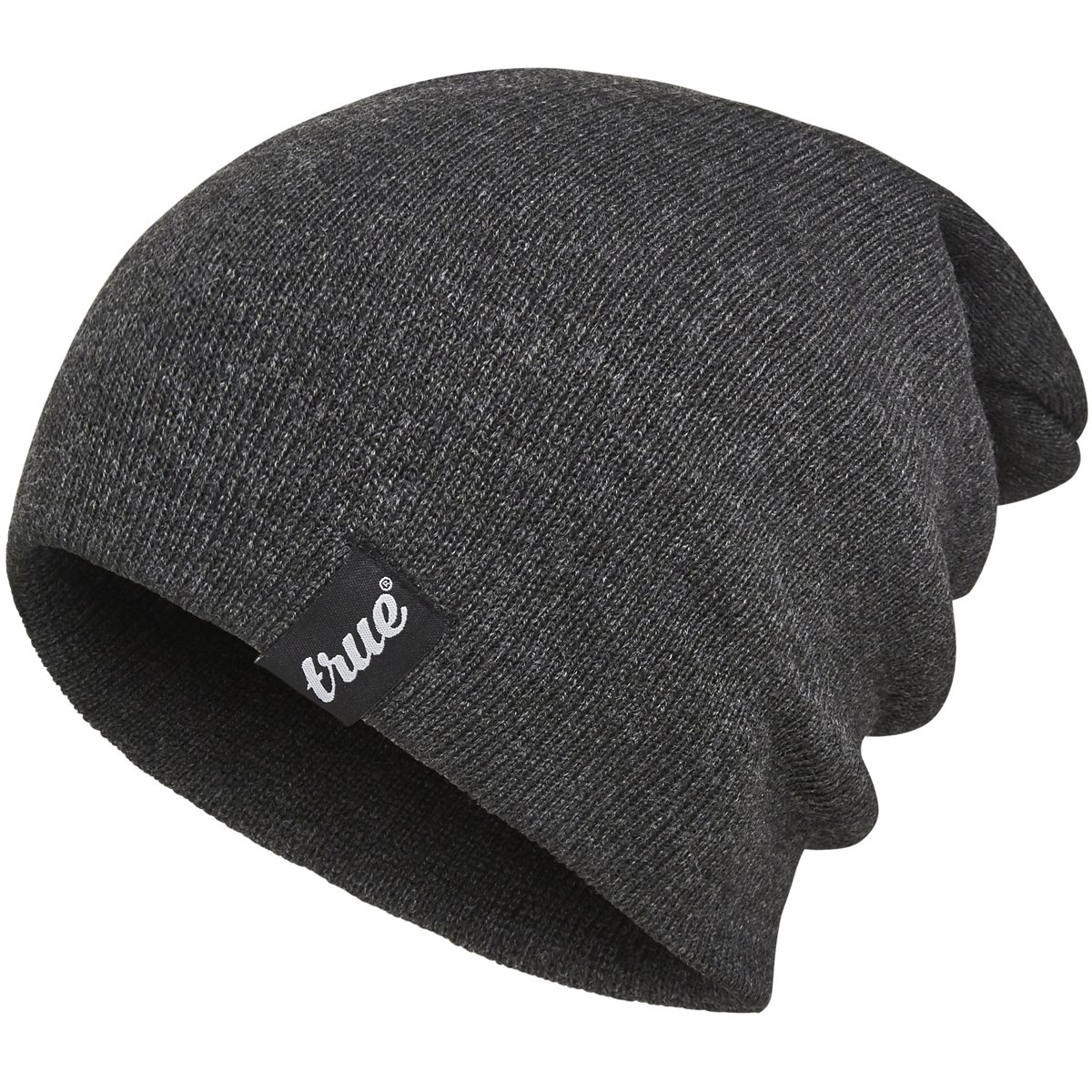 TRUE VISION Mens Charcoal Grey Beanie Hat - Wear as Slouch or Turn Cuff for Traditional Beanie Style - Soft & Comfortable One Size Fit - Winter Warm Knitted Acrylic - Unisex - Suitable for Men & Women