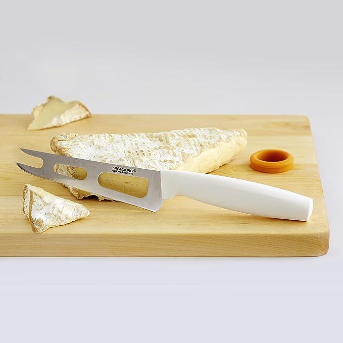 Fiskars Cuchillo para queso, Longitud total: 24 cm, Acero de calidad/Plástico, Blanco, Functional Form, 1015987
