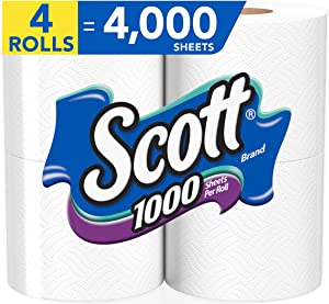 Scott 1000 Sheets Per Roll Toilet Paper, Bath Tissue, 4 Rolls = 4,000 Sheets