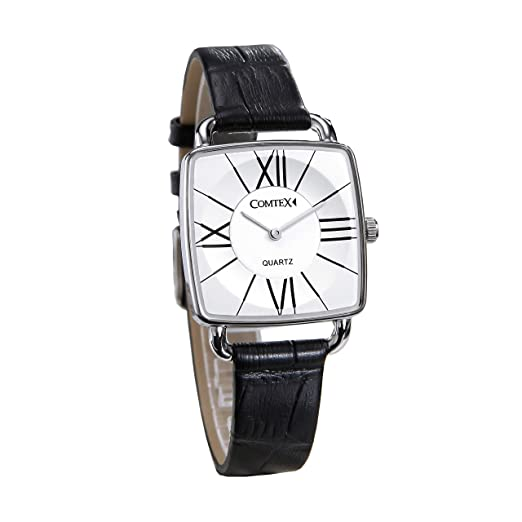 Ladies Watches with Black Leather Strap Square Dial Face Fashion Watches   Amazon.co.uk  Watches f634c3c1945a