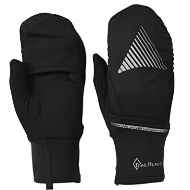 TrailHeads Convertible Running Gloves - black / reflective (small/medium)