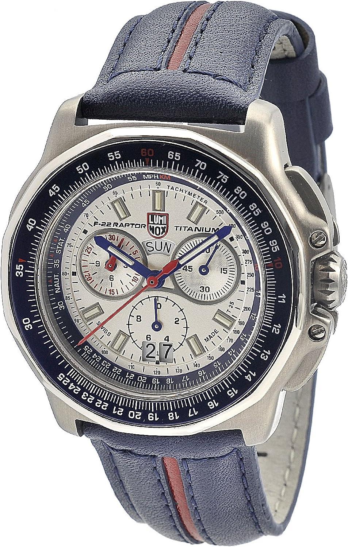 Luminox Men s 9273 F-22 Raptor 9200 Series Analog Quartz Blue with Red Stripe Leather Watch