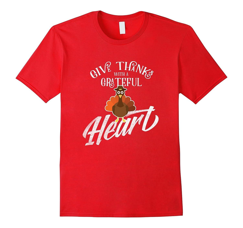 Happy Thanksgiving Day Grateful Heart Turkey Tee T Shirt Gif-ANZ
