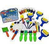 Little Kids Art Set - Kids Art Supplies - 50 Piece Set Paint Brushes, Finger Paints, Palette, Foam Texture Brushes, Paper - Nontoxic Washable Paint - Learn to Paint Set with a Travel Activity Art Case