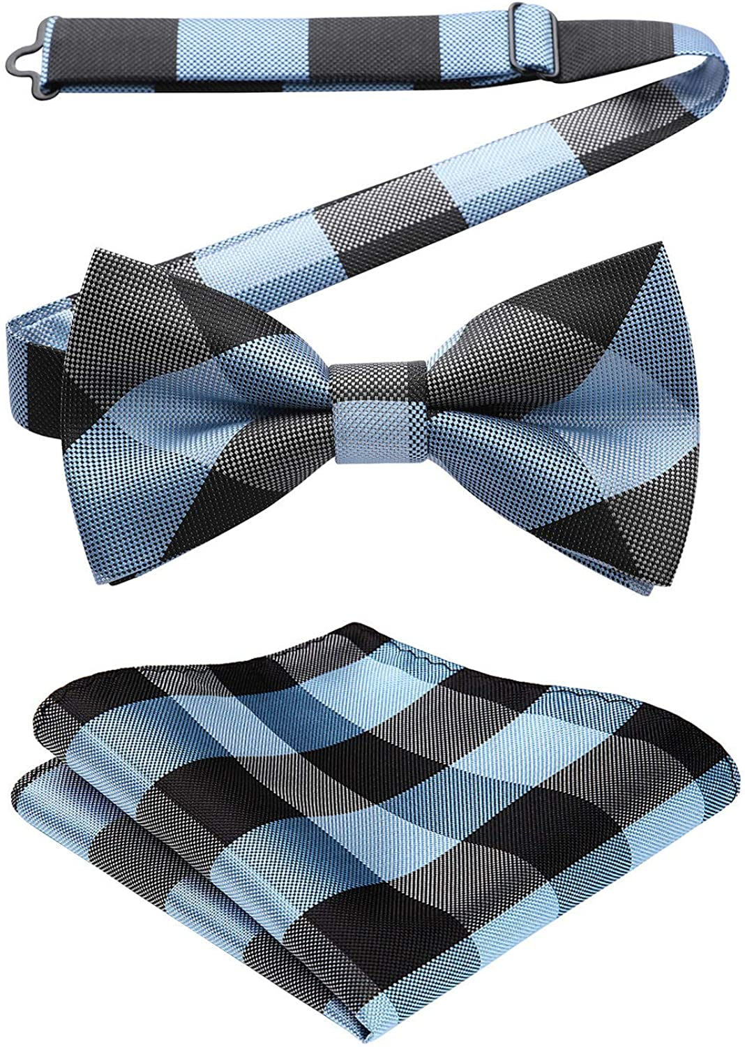 HISDERN Mens Classic Check Pre Tied Bow Tie And Pocket Square Set