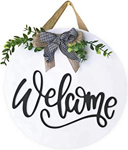 Welcome Sign For Front Door- Front Door Decor Front Porch Decorations Hanging Sign Rustic White Wooden Farmhouse signs on Paulownia Wood 12 x 12 Inch House and Office Sign