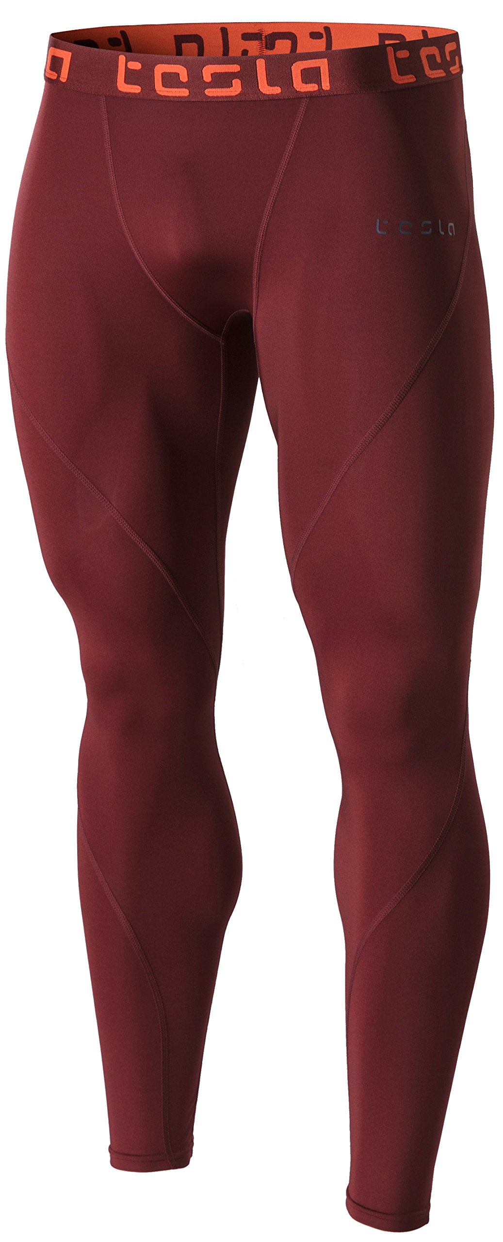 TSLA Men's Compression Pants Running Baselayer Cool Dry Sports Tights, Athletic(mup19) - Brick, Large by TSLA